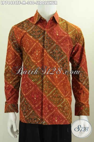 Hem Batik Halus Kwalitas Premium Proses Cap Tulis Motif Sidoluhur, Busana Batik Elegan Untuk Pria Muda Terlihat Gagah [LP7448CTF-M]
