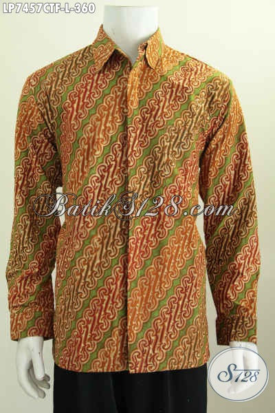 Hem Batik Kerja Terkini, Pakaian Batik Solo Berkelas Model Lengan Panjang Pakai Furing Untuk Penampilan Lebih Istimewa Proses Cap Tulis [LP7457CTF-L]