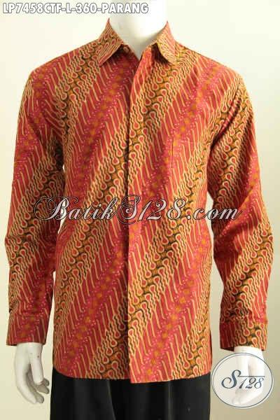Kemeja Batik Pria Koleksi Terbaru, Hadir Dengan Motif Parang Klasik Bahan Halus Proses Cap Tulis Lengan Panjang Full Furing Harga 360 Ribu [LP7458CTF-L]