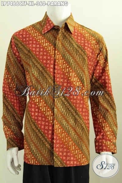 Hem Lengan Panjang Size XL Bahan Batik Klasik Motif Parang Daleman Full Furing Proses Cap Tulis, Elegan Untuk Rapat [LP7466CTF-XL]