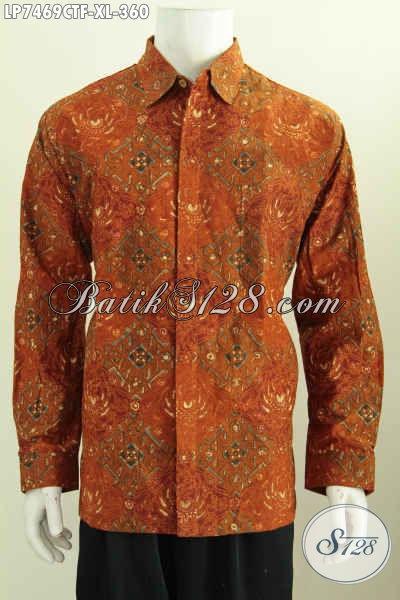 Hem Batik Ukuran XL, Baju Kerja Batik Formal Lengan Panjang Full Furing Motif Klasik Cap Tulis Harga 360K [LP7469CTF-XL]