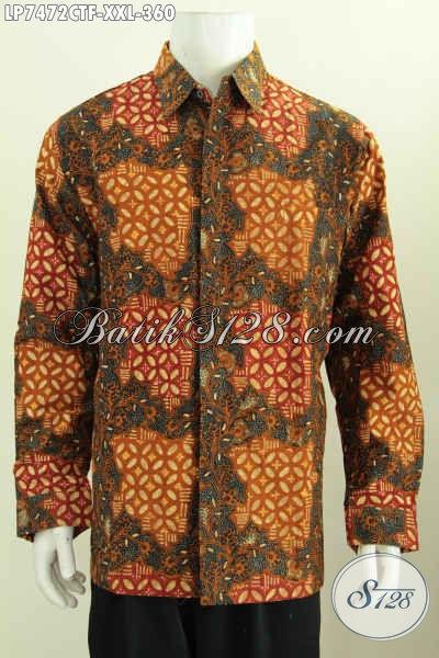 Busana Batik Pria Gemuk, Kemeja Batik Elegan Mewah Full Furing Lengan Panjang Proses Cap Tulis Motif Klasik Size 3L [LP7472CTF-XXL]