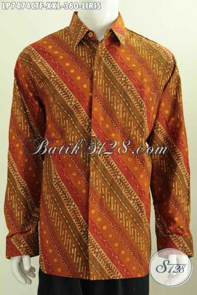Pakaian Batik Elegan Lengan Panjang Bahan Adem Proses Cap Tulis Motif Liris Pas Banget Untuk Acara Resmi, Ukuran Jumbo Spesial Untuk Pria Gemuk  [LP7474CTF-XXL]