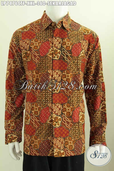 Jual Baju Batik Sekarjagad Proses Cap Tulis Ukuran 3L Buat Pria Gemuk Model Lengan Panjang Full Furing Hanya 360K [LP7476CTF-XXL]