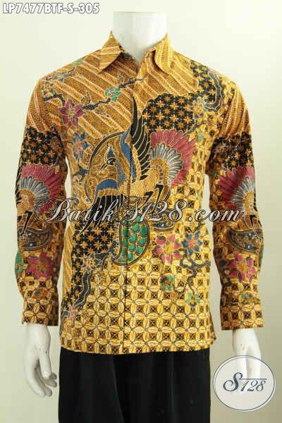Kemeja Batik Istimewa Buat Lelaki Muda Tampil Gagah Berwibawa, Hem Batik Kombinasi Tulis Pake Furing Model Lengan Panjang, Penampilan Lebih Berkelas [LP7477BTF-S]