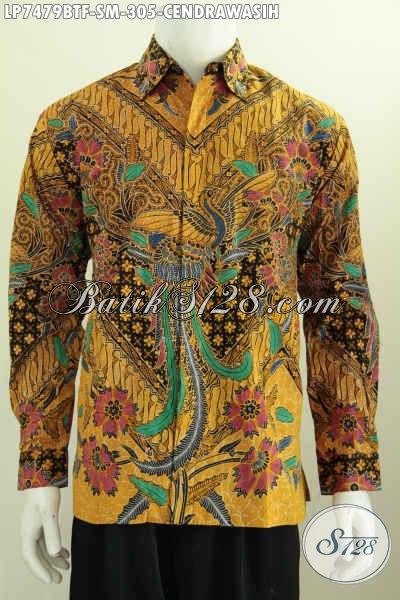Hem Lengan Panjang Batik Solo Motif Cendrawasih, Baju Batik Elegan Berkelas Kombinasi Tulis Model Lengan Panjang Full Furing 305K [LP7479BTF-M]