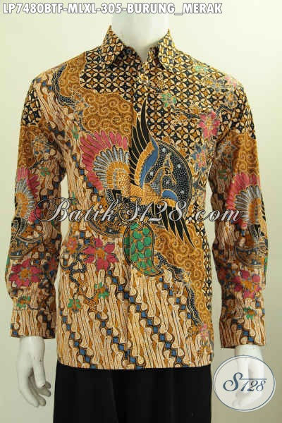 Produk Pakaian Batik Motif Burung Merah, Hem Batik Kombinasi Tulis Buatan Solo Lengan Panjang Pakai Furing Di Jual Online 300 Ribuan [LP7480BTF-XL]