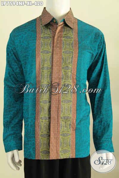 Jual Kemeja Tenun Istimewa, Produk Baju Tenun Halus Istimewa Spesial Buat Pria Dewasa Model Lengan Panjang Di Lengkapi Furing [LP7594NF-XL]
