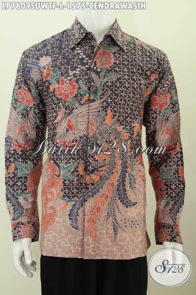 Pusat Busana Batik Pria Premium, Jual Online Kemeja Batik Sutra MOtif Bagus Tulis Tangan Asli Model Lengan Panjang Pake Furing Harga 1.5 Jutaan [LP7609SUWTF-L]