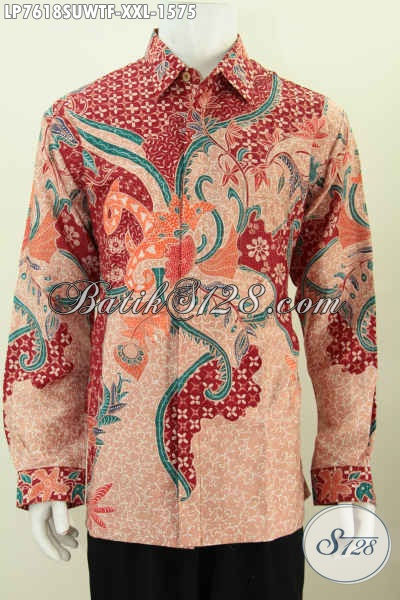 Hem Batik Sutra Premium Warna Merah Model Lengan Panjang Motif Istimewa Proses Tulis, Pilihan Tepat Pria Gemuk Tampil Gagah Dan Tampan [LP7618SUWTF-XXL]