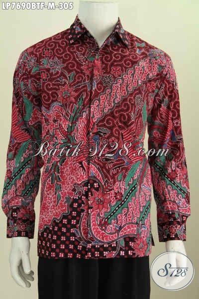 Baju Batik Full Furing Lengan Panjang, Hem Batik Pria Muda Size M, Motif Mewah Proses Kombinasi Tulis [LP7690BTF-M]