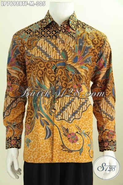 Produk Pakaian Batik Pria Terkini, Hem Lengan Panjang Halus Proses Kombinasi Tulis Daleman Full Furing Harga 300 Ribuan [LP7698BTF-M]
