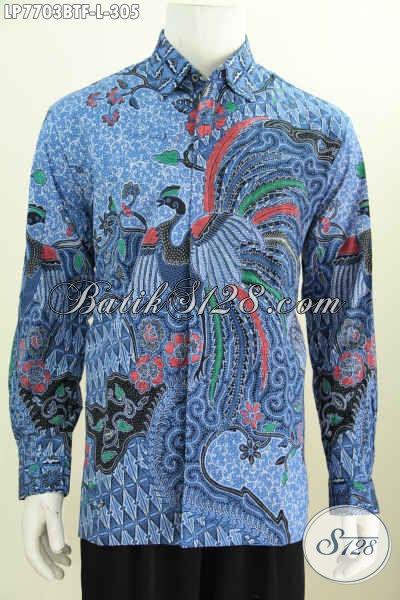 Hem Batik Biru Motif Bagus, Baju Batik Solo Istimewa Lengan Panjang Proses Kombinasi Tulis Daleman Di Lengkapi Furing [LP7703BTF-L]