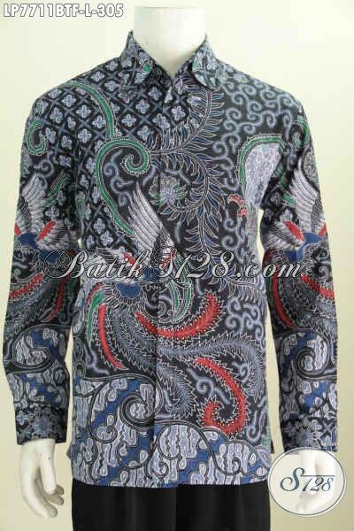 Baju Batik Hem Lengan Panjang, Busana Batik Halus Buatan Solo Motif Mewah Untuk Acara Formal Dan Kedinasan [LP7711BTF-L]