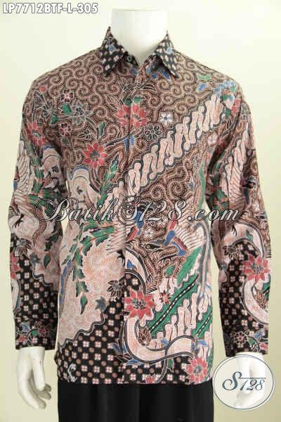 Hem Batik Lengan Panjang Motif Terkini, Busana Batik Modis Full Furing Tampil Gagah Proses Kombinasi Tulis [LP7712BTF-L]