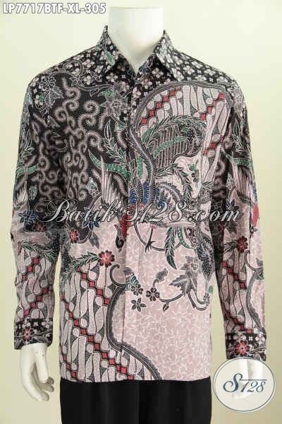 Jual Baju BatikPria Dewasa, Hem Bati Lengan Panjang Full Furing Bahan Adem Proses Kombinasi Tulis Harga 300 Ribuan [LP7717BTF-XL]