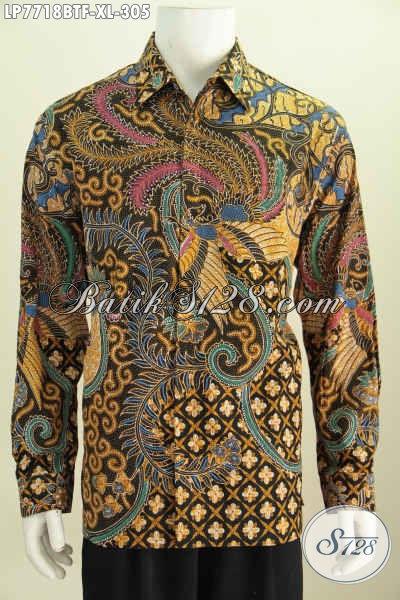 Jual Baju Batik Lengan Panjang Ukuran XL, Hem Batik Full Furing Motif Mewah Bahan Halus Proses Kombinasi Tulis Hanya 305K [LP7718BTF-XL]