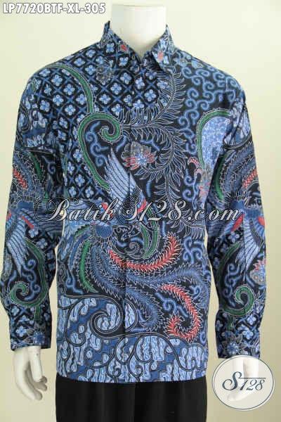 Baju Hem Warna Biru Motif Mewah, Pakaian Batik Solo Full Furing Model Lengan Panjang Proses Kombinasi Tulis, Elegan Untuk Acara Resmi Tampil Berkarakter [LP7720BTF-XL]