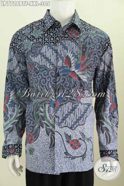 Juragan Baju Batik Online, Jual Kemeja Halus Motif Mewah Lengan Panjang Kombinasi Tulis Untuk Pria Gemuk Ukuran XXL [LP7726BTF-XXL]