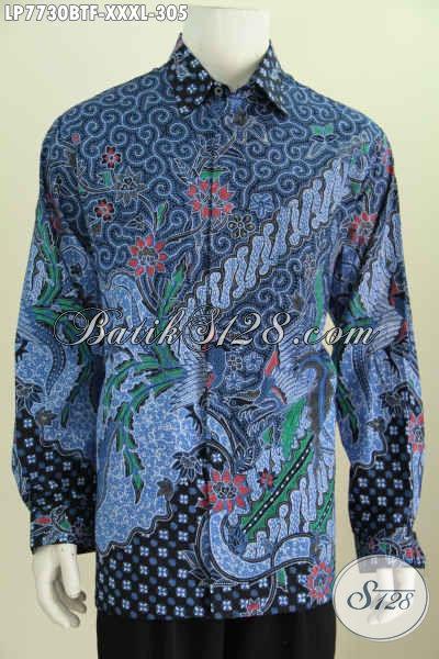 Baju Kemeja Batik Warna Biru, Busana Batik 4L Bahan Halus Lengan Panjang Full Furing Exclusive Untuk Pria Gemuk Sekali [LP7730BTF-XXXL]