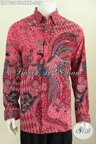 Jual Produk Kemeja Batik Lengan Panjang Kwalitas Premium, Hem Batik Merah Motif Terkini Kombinasi Tulis Lengan Panjang Pake Furing Harga 300 Ribuan Size 4L Pria Gemuk Sekali [LP7733BTF-XXXL]