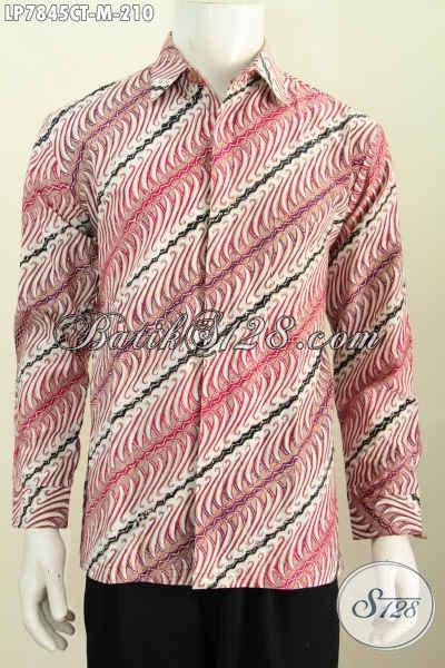 Baju Batik Elegan Lengan Panjang Istimewa, Pakaian Batik Halus Proses Cap Tulis Buatan Solo 200 Ribuan [LP7845CT-M]