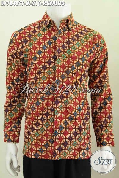 Agen Baju Batik Online, Sedia Hem Lengan Panjang Halus Motif Kawung Desain Modern Bahan Halus Proses Cap Tulis 210 Ribu [LP7848CT-M]