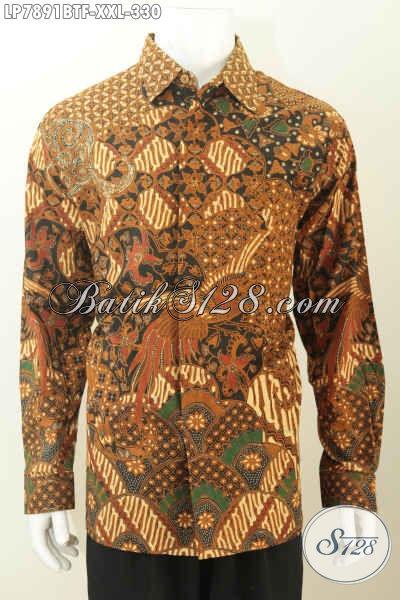 Baju Batik Kemeja Lengan Panjang Full Furing Untuk Pria Gemuk, Pakaian Batik Mewah Proses Kombinasi Tulis Harga 330K [LP7891BTF-XXL]
