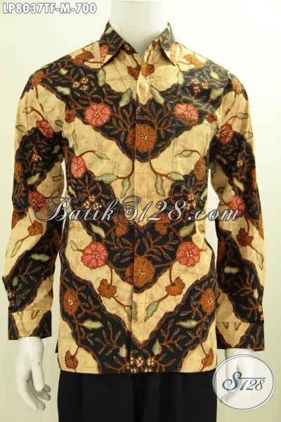 Baju Kemeja Halus Lengan Panjang Bahan Batik Tulis Solo Istimewa, Busan Batik Berkelas Untuk Pria Kantoran Tampil Mempesona [LP8037TF-M]