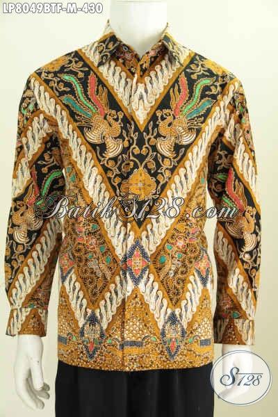Kemeja Batik Lengan Panjang Mewah Motif Klasik Kombinasi Tulis Buatan Solo Daleman Full Furing Pria Tampil Lebih Berwibawa [LP8049BTF-M]