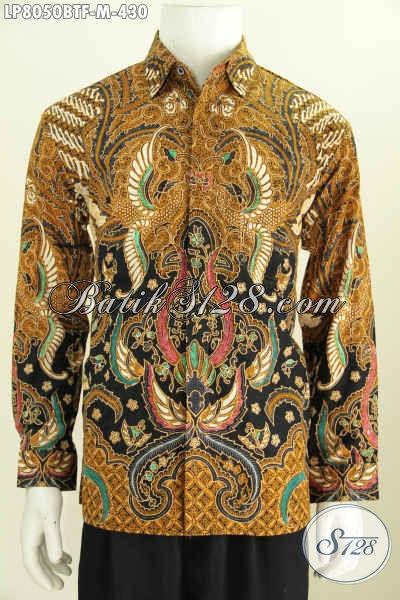 Jual Busana Batik Berkelas, Pakaian Batik Pria Muda Lengan Panjang Pake Furing Bahan Adem Motif Klasik Kombinasi Tulis [LP8050BTF-M]