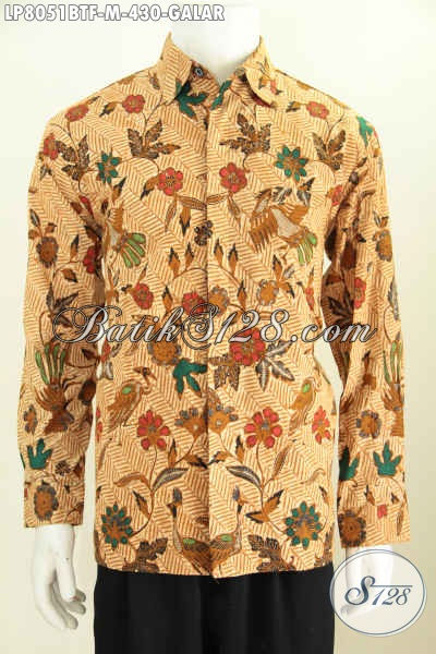 Baju Batik Klasik Motif Galar, Hem Batik Solo Elegan Lengan Panjang Bahan Adem Proses Kombinasi Tulis Daleman Full Furing [LP8051BTF-M]