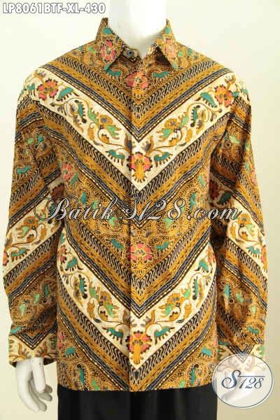 Baju Batik Hem Keren Elega Dan Berkelas, Busana Batik Istimewa Lengan Panjang Full Furing Spesial Untuk Pria Karir Sukses [LP8061BTF-XL]