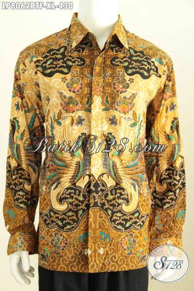 Jual Online Kemeja Batik Pria Dewasa Size XL, Hem Batik Bagus Halus Kwalitas Premium Model Lengan Panjang Full Furing 430K [LP8062BTF-XL]