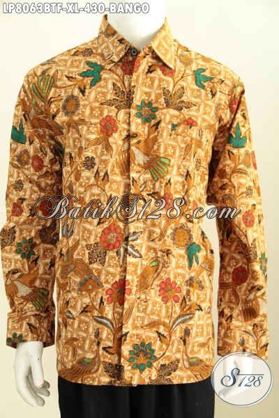 Kemeja Bati Motif Bango Model Lengan Panjang, Hem Batik Kombinasi Tulis Full Furing Buatan Solo Modis Untuk Kerja Dan Rapat [LP8063BTF-XL]