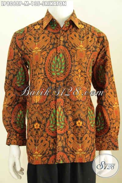 Baju Baju Batik Printing Klasik Lengan Panjang Motif Srikaton, Pakaian Batik Halus Buatan SoloYang Bikin Pria Tampil Berwibawa [LP8068P-M]