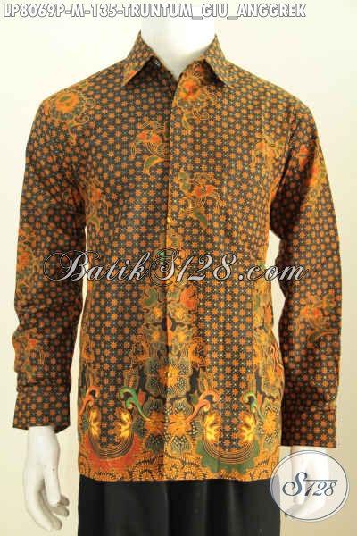 Hem Batik Formal Size M Motif Truntum Boh Anggrek Kwalitas Bagus Proses Printing Harga 135K, Pas Untuk Seragam Kerja Dan Acara Resmi [LP8069P-M]