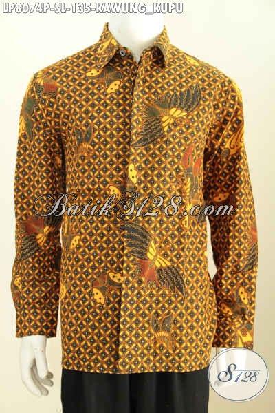 Baju Batik Istimewa Proses Printing Motif Kawung Kupu, Hem Batik Elegan Lengan Panjang Yang Membuat Pria Tampil Gagah Dan Berwibawa Hanya 135K [LP8074P-S]