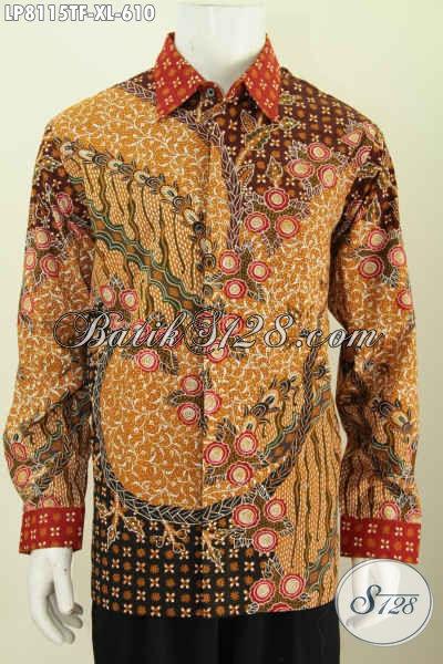 Sedia Hem Lengan Panjang Size XL, Baju Batik Full Furing Mewah Motif Terbaru Lebih Berkelas Proses Tulis Harga 610K [LP8115TF-XL]