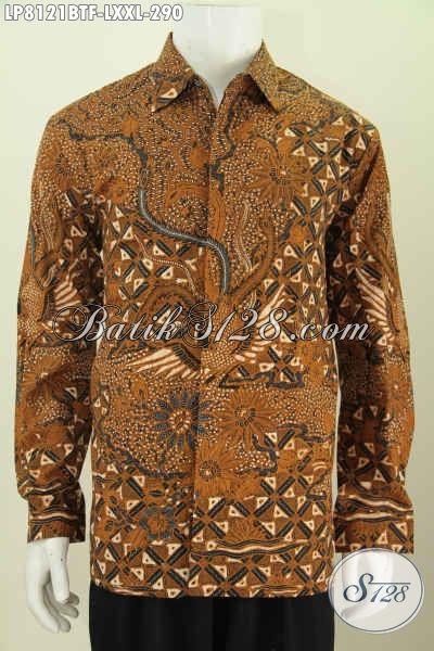 Hem Batik Pria Dewasa, Busana Batik Klasik Elegan Kombinasi Tulis Model Lengan Panjang Full Furing Buat Kerja Dan Rapat Tampil Gagah [LP8121BTF-L]