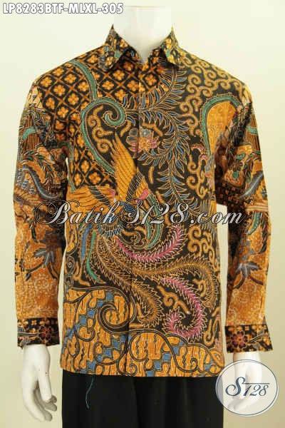 Baju Batk Solo Istimewa, Hem Batik Halus Lengan Panjang Motif Klasik, Pakaian Batik Kombinasi Tulis Full Furing Untuk Tampil Makin Gagah [LP8283BTF-XL]