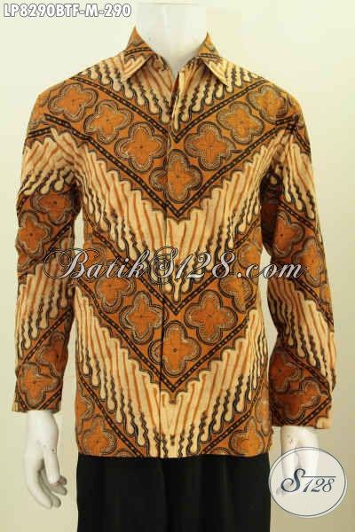 Baju Hem Batik Motif Klasik Kombinasi Tulis, Pakaian Batik Pria Size M Lengan Panjang Full Furing Tampil Gagah Elegan [LP8290BTF-M]