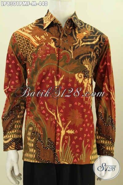 Hem Batik Kombinasi Tulis Premium Size M, Baju Batik Mewah Lengan Panjang Pake Furing Bahan Adem Untuk Rapat Dan Acara Resmi [LP8301PMF-M]