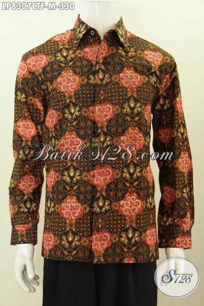 Baju Batik Terkini Dari Solo Motif ELegan Dan Mewah Proses Cap Tulis, Hem Batik Full Furing Lengan Panjang Di Jual Online 330K [LP8307CTF-M]