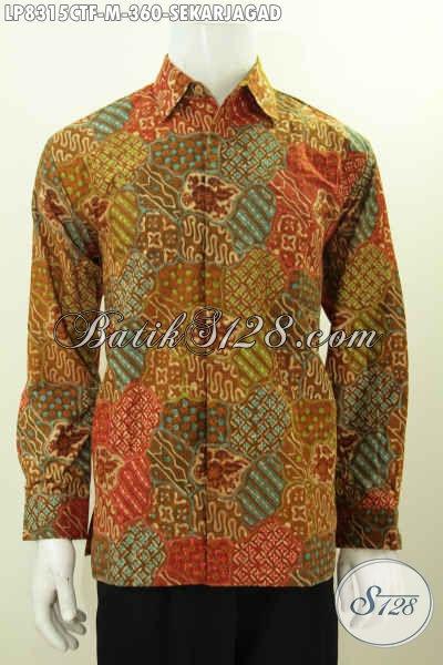 Baju Kemeja Batik Istimewa Motif Sekar Jagad, Baju Batik Klasik Cap Tulis Lengan Panjang Full Furing Harga 360 Ribu Saja [LP8315CTF-M]