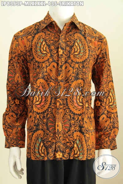 Baju Batik Pria Lengan Panjang Modern Motif Klasik Srikaton, Baju Batik Solo Halus Proses Printing Elegan Untuk Acara Remsi [LP8353P-M]
