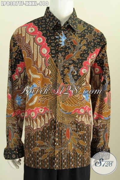 Busana Batik Istimewa Untuk Cowok Gemuk Sekali, Baju Batik Pria Ukuran 4L Model Lengan Panjang Daleman Pake Furing Harga 610K [LP8387TF-XXXL]