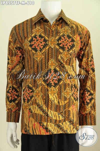 Model Baju Batik Pria Lengan Panjang Tebaru Yang Bikin Penampilan Lebih Gagah Bak Pejabat, Motif Bagus Tulis Asli Harga 600 Ribuan Lengan Panjang Pakai Furing [LP8557TF-M]