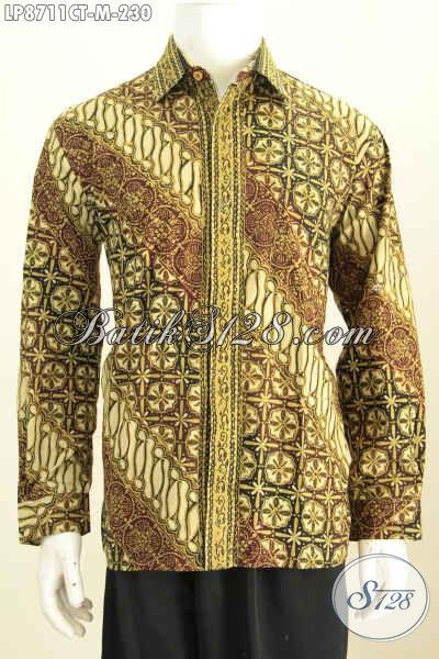 Model Baju Batik Lengan Panjang 2020, Pakaian Batik Cap Tulis Motif Klasik Buatan Solo, Pas Untuk Acara Resmi [LP8711CT-M]
