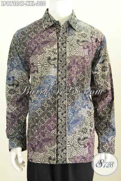 Batik Hem Klasik Big Size, Kemeja Batik Solo Mewah Proses Cap Tulis Model Lengan Panjang, Spesial Buatan Lelaki Gemu Terlihat Berwibawa [LP8720CT-XXL]
